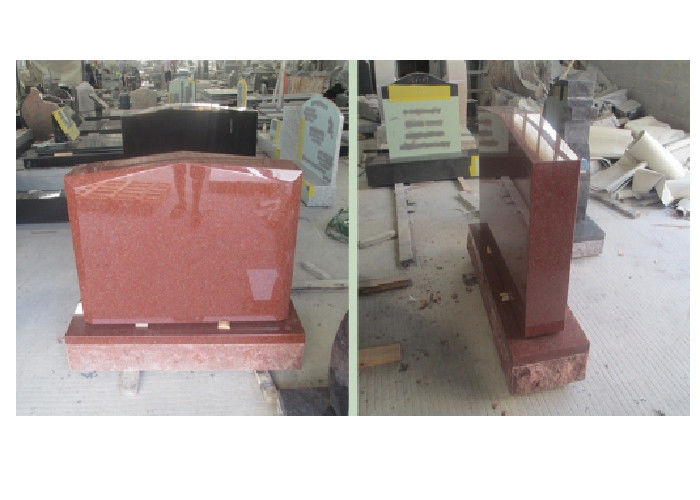 Red Polished Sketch Granite Memorial Headstones 37.6Mpa Bending Strength